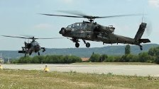 AH-64 Apache Helicopters Arrive to Illesheim, Germ...