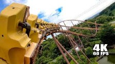 Riding Bandit Roller Coaster at Yomiuriland in Jap...